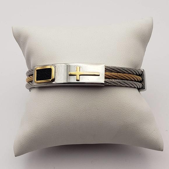 Stainless Steel Cross Wristband Bracelet Unisex